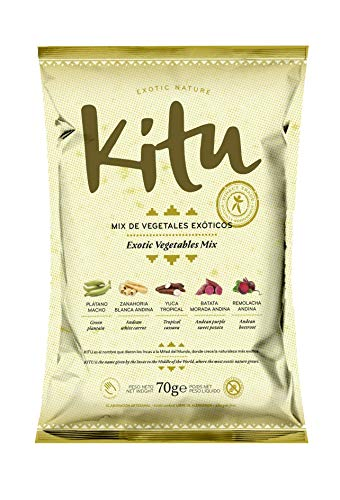 Mix de vegetales exóticos 70g. Kitu Snack. Caja de 24 unidades. Chips de vegetales saludables sin alérgenos.