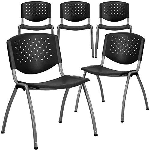 Flash Furniture 5 Pk. HERCULES Series 880 lb. Capacity Black Plastic Stack Chair with Titanium Frame -, 5-RUT-F01A-BK-GG