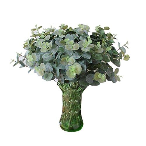 Coloré(TM) Feuille artificielle Eucalyptus laisser la simulation laisse le mariage décor à la maison. Décor Floral le Bouquet de Fleurs Fête de Mariage (Chaud rose)