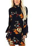 YOINS Femme Robe Imprimé Florale Robe Été Chic Manchons Évasées Mini Robe Manches Longues Mini Dress Robe Tunique Long-Bleu Foncé 32-34