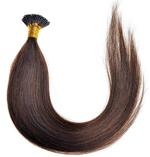 20inch Emosa Stick Stick I Tip Straight Human Hair Extensions 50g 100strands #4 Medium Brown