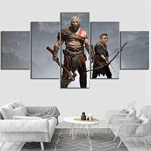 WARMBERL Leinwanddrucke Printmaking Home Decoration Leinwand 5 Stück Ares Malspiel Wohnzimmer Wandkunst Modulare Bilder Poster Rahmen Rahmen Drucke Auf Leinwand