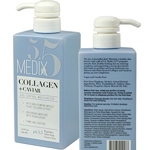 Medix 5.5 Collagen Cream with Caviar. Anti-aging Moisturizer. Firms And Tightens For Younger Looking Skin. Anti-Aging Cream Infused With Peptides, Aloe Vera, and Green Tea. (15oz)
