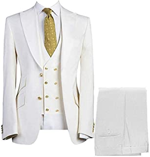 Gocgt Mens 3-Piece Suit Single Breasted Smart Formal Wedding Suits