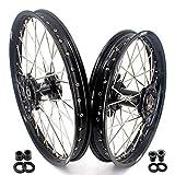 KKE 21 & 18 Enduro Wheels Rims Set for Suzuki DRZ400 DRZ400E DRZ400S DRZ400SM Black Hubs Off Road