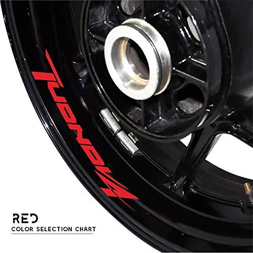 Zhangenlian- Logotipo de la Rueda de la Motocicleta Pegatina Reflectante Moto Llanta Neumático Accesorios Decorativos Adhesivos for Aprilia TUONOV4 (Color : Red)