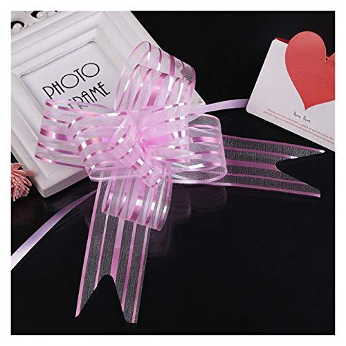 Changskj Tire de la Flor 10 unids Organza Pull Flower Bow Gift Wrap Wrap Candy Candy Accessories DIY Boda Decoración de Coche Suministros (Color : Pink)