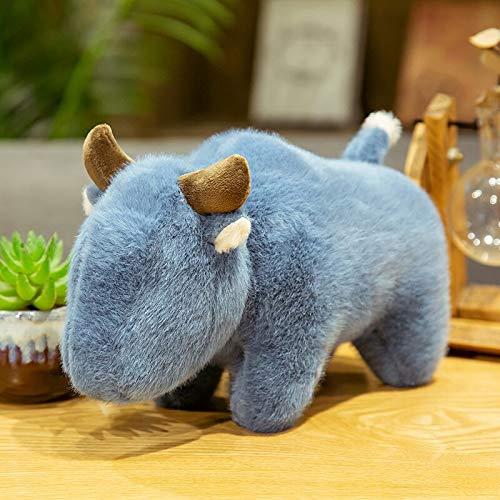 AYQX 30-45 cm Mullido sin Ojo Almohada de Toro Ganado de Peluche de Juguete de Peluche de Color Puro Vaca Animal Juguete para Regalo de bebé muñeca de Peluche para Recoger 30 cm Azul