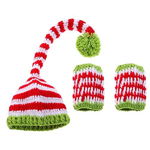 YeahiBaby Recién Nacido Foto del bebé Traje Sombreros Navidad Infantil Hecho a Mano de Punto de Lana Juguetes Disfraces Ropa del bebé