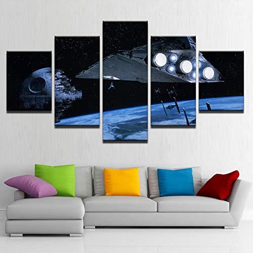 YJJPP Leinwand Bilder Home Decor Zimmer 5 Stück Star Wars Death Star Gemälde HD Drucke Space Star Destroyer Poster Wandkunst NO Framework