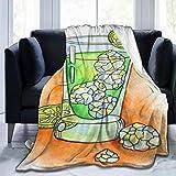 Manta de microfibra ultra suave,Barra de naranja Copa de cóctel Bebida Cubo de hielo Rebanada Ginebra Alcohol Comida Bebida Champán Cítri,Decoración para el hogar,cálida manta para sofá cama,50X40