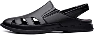 GHC Leisure Slippers & Sandals, Men's Genuine Leather Casual Beach Sandals, Cut Out Shoes Slip on Stretch Round Closed Toe...