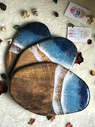 Servierbrett mit Ocean Theme Resin Art 28 cm, Ocean Art, Schneidebrett, Mangoholz, Personalisierung, Kunstwerke aus Harz, Seestückolz, Personalisierung, Harzkunstwerke, Seestück