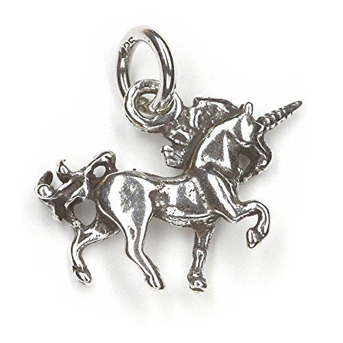 Einhorn Schmuck Silber mystischer Anhänger 925er Silber Fantasy Kettenanhänger Länge mit Öse: 2cm