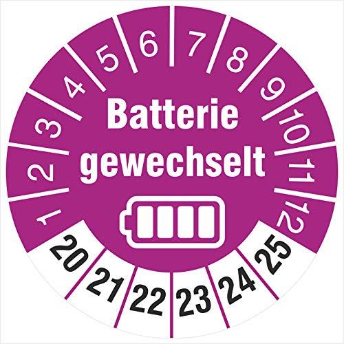 500 Prüfetiketten Batterie gewechselt 30 mm Batteriewechsel durchgeführt 2020-2025