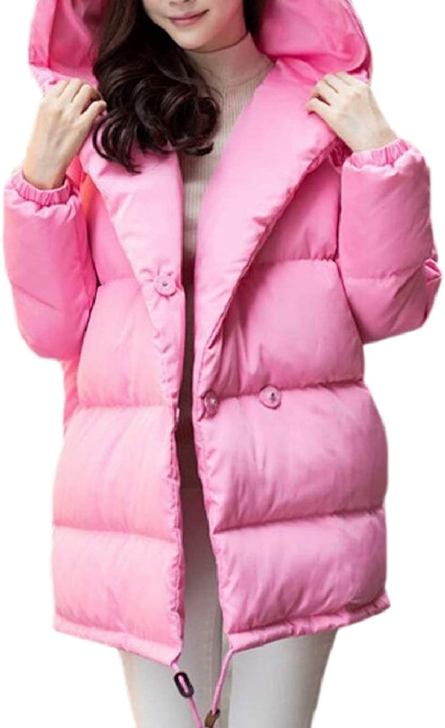 TymhgtCA Womens Winter Outdoors Down Hood Loose Fit Puffer Thicken Jacket Coats