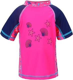 LACOFIA Traje de baño de Manga Corta para bebé Camiseta de baño para niños con protección Solar UPF 50 + Secado rapido