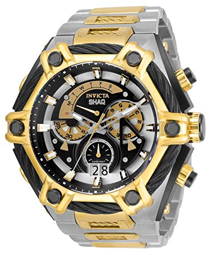 Invicta Shaq 33683 - Reloj de cuarzo para hombre, acero inoxidable, correa de cable, plata, oro, 33,5