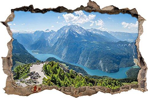 Stil.Zeit Blick vom Berg über dem Königssee in Bayern Wanddurchbruch im 3D-Look, Wand- oder Türaufkleber Format: 92x62cm, Wandsticker, Wandtattoo, Wanddekoration