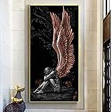 RTCKF Ángeles y Demonios Lienzo Pintura alas Rojas Personajes Grises Carteles Impresiones escandinavo Arte de Pared Imagen para Sala de Estar Cuadros 60x90 cm (sin Marco)