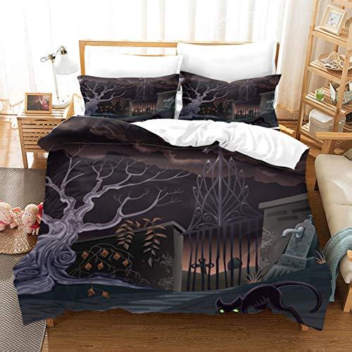 FOssIqU Ropa de Cama de Fibra de poliéster 200x200cm Tema de Halloween Hogar Dormitorio Infantil niño niña Dormitorio patrón de impresión 3D algodón Puro Transpirable Super Suave 3 futón