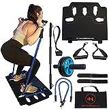 Home Gym Equipment - Portable Board - Resistance Bands Set mit Griffen für Männer und Frauen - Krafttraining Übung Zubehör - Fitness Workout - ABS Wheel Roller - Ganzkörpertoner mit Türanker