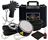 Double Sided Magnet Fishing Kit - Strong Magnet for Magnet Fishing with 800 Pound Pull Neodymium Magnet for Heavy Duty Use | Includes a Durable 65 ft Rope and Carabiner, Gloves and Case
