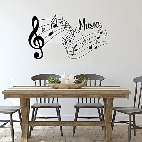 Jsnzff Melodía de Moda Etiqueta de la Pared Música Canción Sonido Notas Habitación Hogar Etiqueta de la Pared Dormitorio Decoración de la Oficina Etiqueta de música extraíble 91x51cm