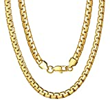 Mens Gold Chains 6mm Box Necklace for Boy Hip Hop Jewelry Boys Gift