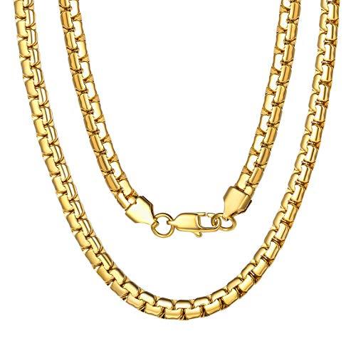 Collar Acero Inoxidable Curb Cuban Chain Cadena Europa Dorado 6mm 22 Inch Cadena Cuadrada para Hijas