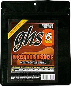 GHS acústica Phosphor Bronze Medium Flexibilidad y rico tono, brillante Cuerda de calibre 13–56 Multi-pack de 6conjuntos, cada uno con 6cuerdas