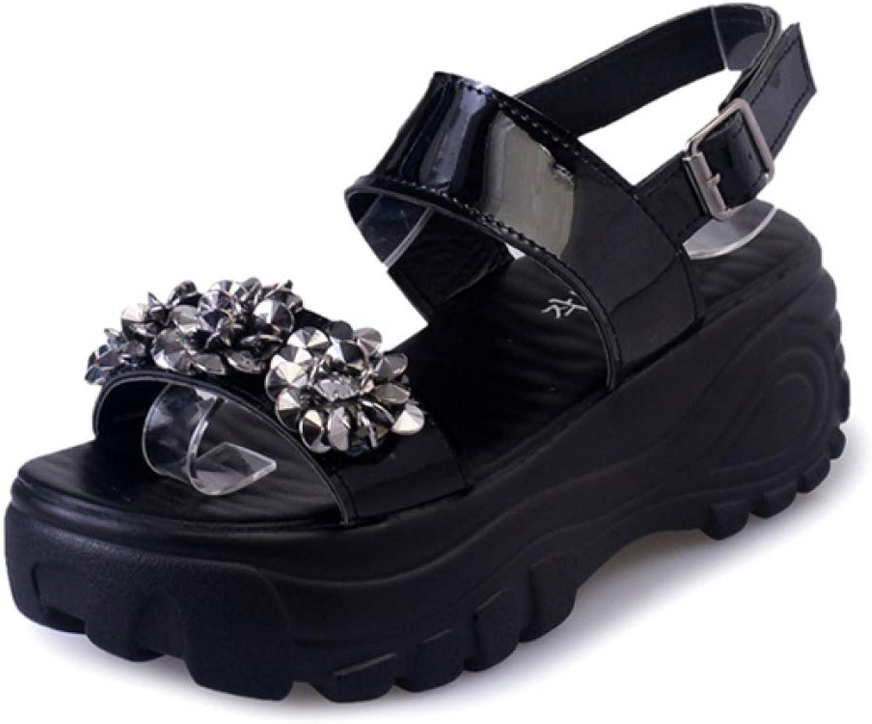 Btrada Women's High Heel Sandals Casual Summer Fashion Wedges Sandals Platform Crystal Ladies shoes