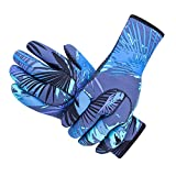 DiNeop Neoprene Wetsuit Gloves Diving Scuba Gloves for Women Men Kids, 3MM Sailing Thermal Gloves Comfortable Protection for Kayaking Paddling Snorkeling Swimming Surfing Spearfishing (Blue, M)