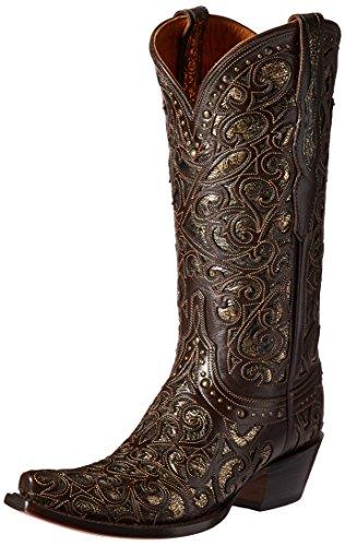 "Lucchese Womens Sierra Snip Toe Western Cowboy Dress Boots Mid Calf Low Heel 1-2"" - Brown - Size 9.5 B"