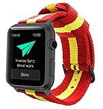 Estuyoya - Pulsera de Nailon Compatible con Apple Watch Colores Bandera de España, Ajustable Reemplazo Estilo Deportiva Casual Elegante para 42mm 44mm Series 5/4 / 3/2 / 1 Nike+ - Rojo-Amarillo