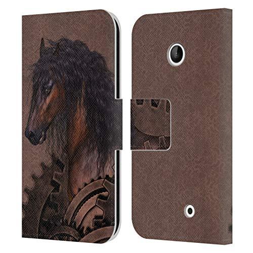 Head Case Designs Ufficiale Simone Gatterwe Cavallo Steampunk Cover in Pelle a Portafoglio Compatibile con Nokia Lumia 630