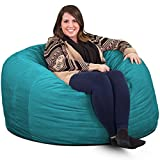 ULTIMATE SACK Bean Bag Chairs in Multiple Sizes and Colors: Giant Foam-Filled Furniture - Machine Washable Covers, Double Stitched Seams, Durable Inner Liner. (4000, Teal Suede)
