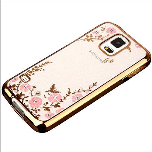 ZCRO Handyhülle für Samsung Galaxy S5, Silikonhülle Hülle Silikon Transparent Klar Durchsichtig Schutzhülle Case Glitzer Bling Glitter Diamant Dünn Bumper Cover für Samsung Galaxy S5(Gold,Rosa)
