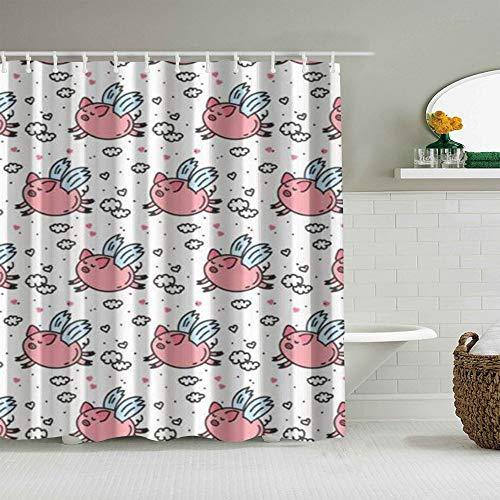 OPQRSTQ-O Personalisierter Duschvorhang,Nettes fliegendes Schwein Humorwolkenherz,wasserabweisender Badvorhang für das Badezimmer 180 x 180cm