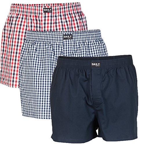 DA!LY Underwear Herren Webboxer Boxershorts Webboxershorts Men kariert S M L XL 2XL 3XL 4XL 5XL 100% Baumwolle 3er Pack, Größe:4XL, Farbe:Farbkombi 99/1
