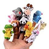 CHSYOO 10 x Figurine di Animali Piccoli Finger Puppet Velvet Puppet in Peluche, Figura di Peluche Puntelli per Il Compleanno Kids Party Battesimo Baby Shower Party Favor Gift