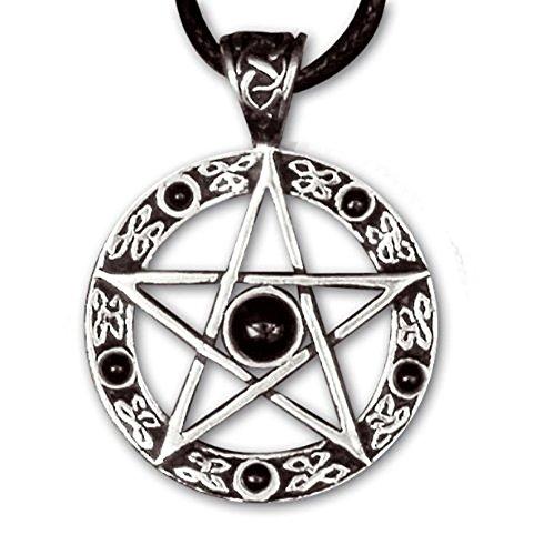 Colgante de plata de piedras negras de estrella de pentagrama etNox - protección medallonque - con una correa de piel