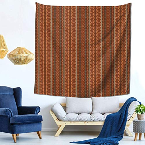 Moderno Tapiz Azteca de Chevron marrón y Naranja, Tapiz Espacial, tapices de Pared para Colgar en la Pared, para Dormitorio, Sala de Estar, Dormitorio, decoración, 59Wx59H Pulgadas
