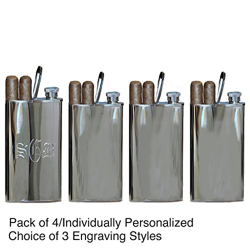 All Things Weddings Personalized Stainless Steel Flask with Built-in Cigar Case, 4 oz, Quantity 4, Block/Old English/Circle Font styles