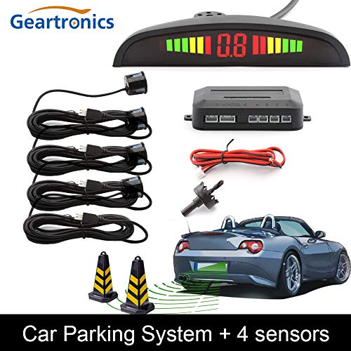 Read About Silver : Car Auto Parktronic LED Parking Sensor with 4 Sensors Reverse Backup Car Parking...