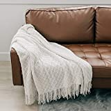 Graced Soft Luxuries Throw Blanket Woven Soft for Sofa Couch Decorative Knitted Boho Fringe Blanket (Ivory, Large 50' x 60')