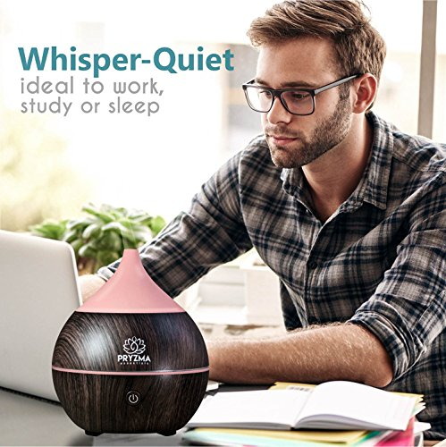 Pryzma Essentials All in One Bluetooth Speaker Aromatherapy Smart Essential Oil Diffuser, 7 LED Therapy Night Light, 200ml Cool Mist Ultrasonic Humidifier, Wood Grain and Waterless Auto Shut-off