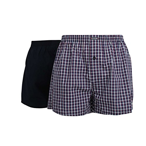 Ceceba Herren Boxershort, Unterhose, Shorts - Baumwolle, Popeline, blau, kariert, mit Eingriff, 2er Pack L