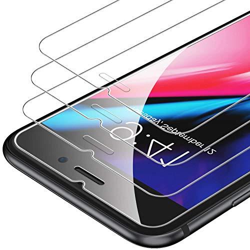 Pack de 3 protectores de vidrio templado dureza 9H para iPhone 6,7,8 con protector de pantalla