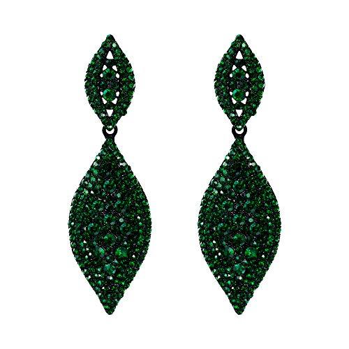 EVER FAITH Boucles dOreilles Pendentif Clip Femme Double Feuilles Fantaisie Fastueux Bijoux Mariage Cristal Strass Ton Noir Vert